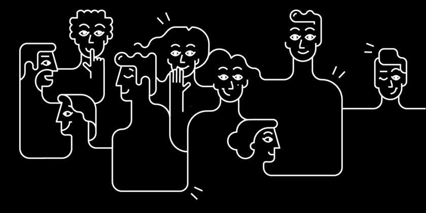Menschen die miteinander auf einem schwarz weiss Bild sprechen.